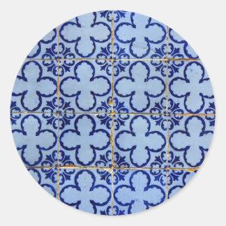 Azulejos, Portuguese Tiles Autocolante Em Formato Redondo