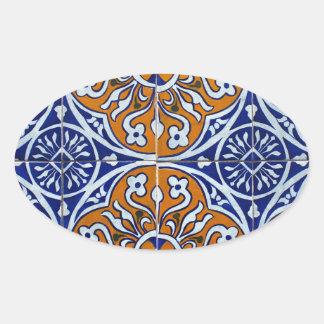 Azulejos, Portuguese Tiles Autocolantes Oval