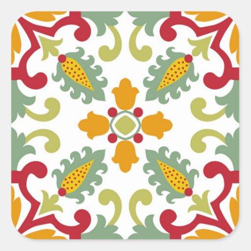 Azulejos verdes sem emenda do ornamento adesivos quadrados