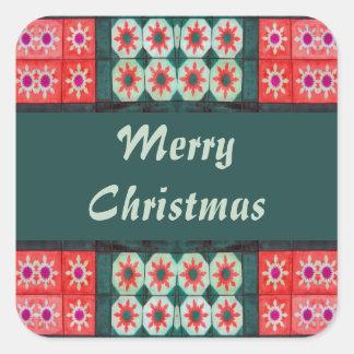 Azulejos verdes vermelhos do Feliz Natal Adesivo Quadrado