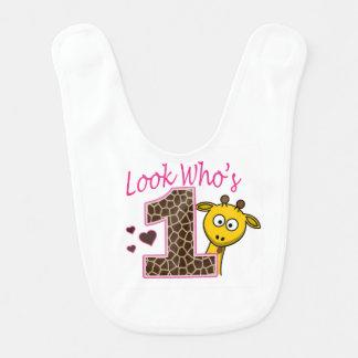 Babador Bi do bebé do primeiro aniversario do girafa