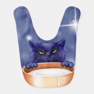 babador bonito do bebê azul do gato do gatinho