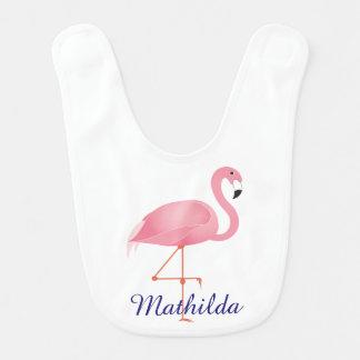 Babador cor-de-rosa bonito do bebê do flamingo com