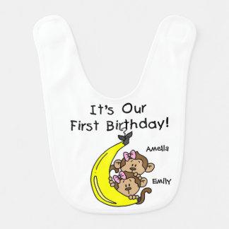 Babador De Bebe Aniversário das meninas gêmeas da banana primeiro