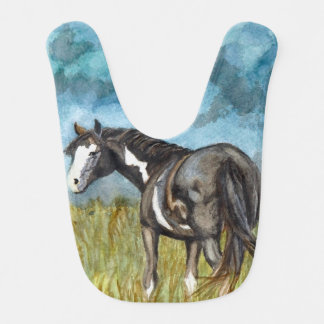 Babador De Bebe Arte preto e branco da aguarela do cavalo da