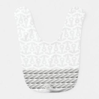 Babador De Bebe Design náutico branco da âncora com corda