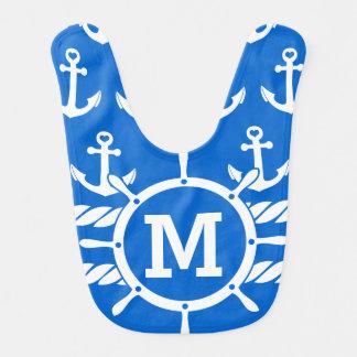 Babador De Bebe Monograma náutico âncoras azuis personalizadas