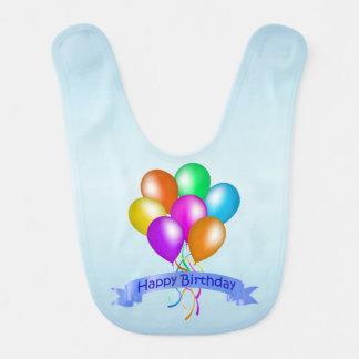 Babador De Bebe O feliz aniversario colorido Balloons o partido da
