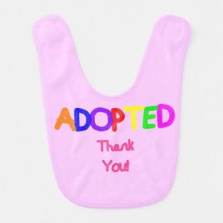 Babador De Bebe Obrigado cor-de-rosa adotado você