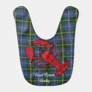 Babador De Bebe Tartan de Nova Escócia da lagosta do bebê da costa