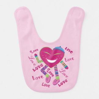 Babador do bebé do coração do amor do feliz dia