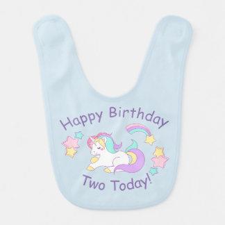 Babador do bebê do unicórnio do aniversário