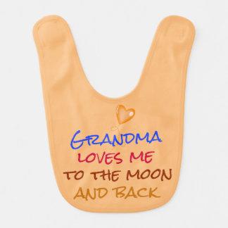Babador Infantil A avó ama-me às citações da lua e da parte