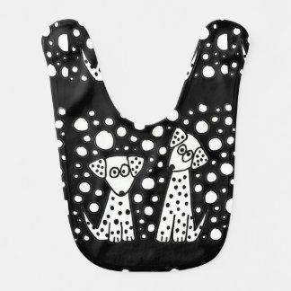 Babador Infantil Arte abstracta manchada engraçada dos cães de