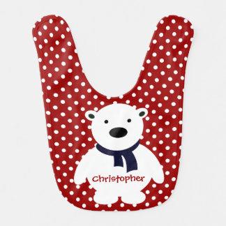 Babador Infantil Bolinhas vermelhas/brancas bonitos, urso polar,