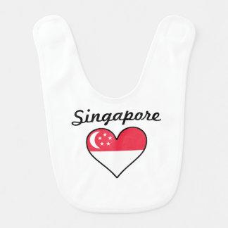 Babador Infantil Coração da bandeira de Singapore