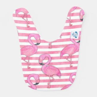 Babador Infantil Flamingo da aguarela em listras cor-de-rosa