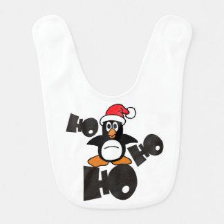 Babador Infantil Ho Ho Ho - pinguim - Feliz Natal + sua ideia