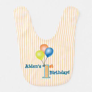 Babador Infantil Primeiro aniversário com balões coloridos