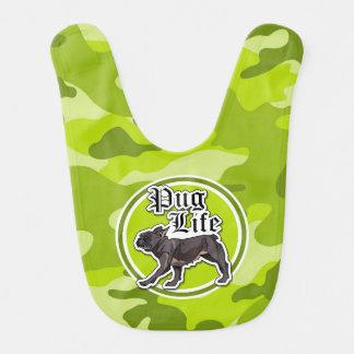 Babador Infantil Pug engraçado; camo verde-claro, camuflagem