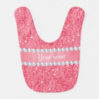 Babador Infantil Sequins e diamantes cor-de-rosa do falso