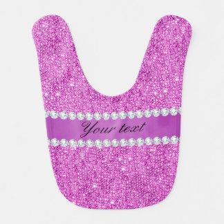 Babador Infantil Sequins roxos chiques e diamantes do falso