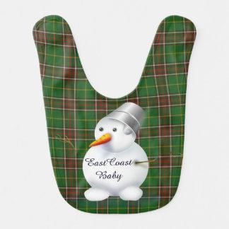 Babador Infantil Tartan de Terra Nova do boneco de neve do Natal da
