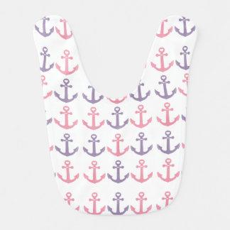 Babador Infantil Teste padrão roxo cor-de-rosa branco náutico das