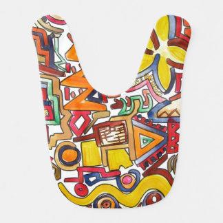 Babador Infantil Viagem por estrada - arte abstracta pintado mão
