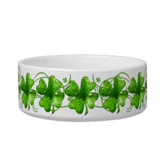 Bacia cerâmica do trevo afortunado de St Patrick Tijelas Para Comida De Gatos