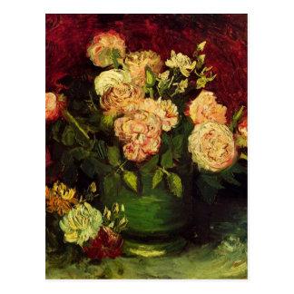 Bacia de Van Gogh com peônias e rosas, belas artes Cartão Postal