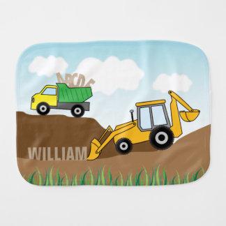 Backhoe amarelo e camião basculante personalizados fraldinha de boca