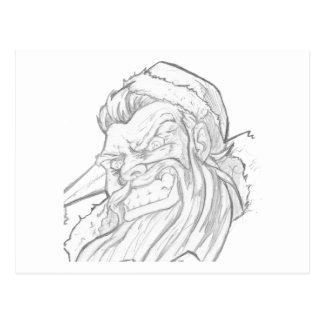 Badass Papai Noel com um sorriso mau Cartão Postal