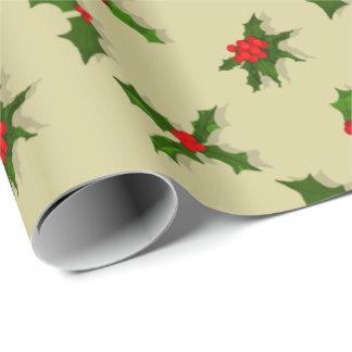 Bagas do azevinho do feriado do Natal da cor da Papel De Presente