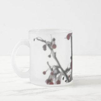 Bagas vermelhas do inverno, 3 caneca de vidro fosco
