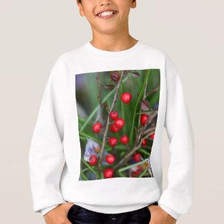 Bagas vermelhas pequenas em um arbusto do camiseta