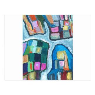 Baía celular colorida (expressionism abstrato) cartão postal