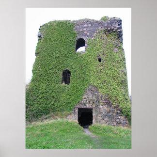 Baía de Oban do castelo de Dunollie, Scotland Poster