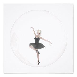 Bailarina 1 da bolha convite quadrado 13.35 x 13.35cm