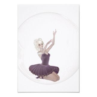 bailarina 2 da bolha 3D Convite 8.89 X 12.7cm