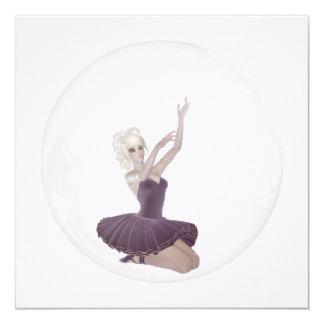 bailarina 2 da bolha 3D Convite Quadrado 13.35 X 13.35cm