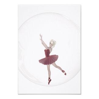 bailarina 3 da bolha 3D Convite 8.89 X 12.7cm