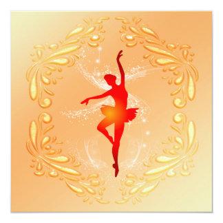 Bailarina bonita convite quadrado 13.35 x 13.35cm