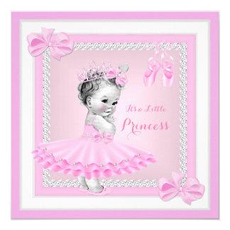 Bailarina bonito do rosa da menina da princesa chá convite quadrado 13.35 x 13.35cm