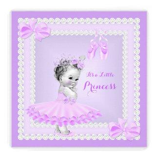 Bailarina bonito do roxo da menina da princesa chá convite quadrado 13.35 x 13.35cm