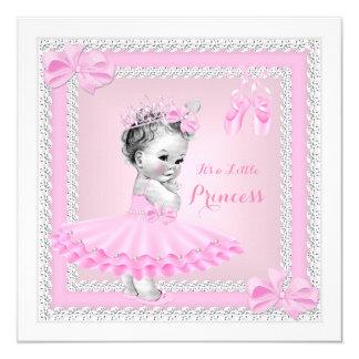 Bailarina cor-de-rosa bonito da menina da princesa convite quadrado 13.35 x 13.35cm