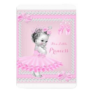 Bailarina cor-de-rosa bonito da menina da princesa convite 12.7 x 17.78cm