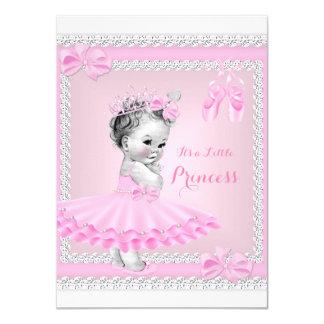 Bailarina cor-de-rosa bonito da menina da princesa convite 11.30 x 15.87cm