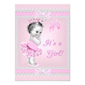 Bailarina cor-de-rosa bonito da menina do chá de