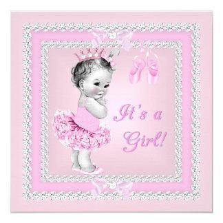 Bailarina cor-de-rosa bonito da menina do chá de convite quadrado 13.35 x 13.35cm